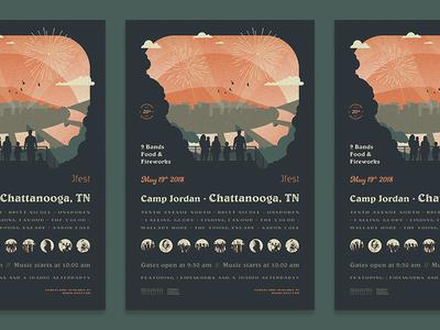 Music Festival Poster tennessee retro chattanooga festival poster music