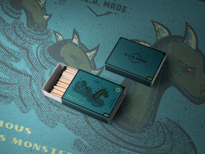 Nessy Matchbox loch ness monster monster vintage mockup vector texture nessy retro matchbox illustration