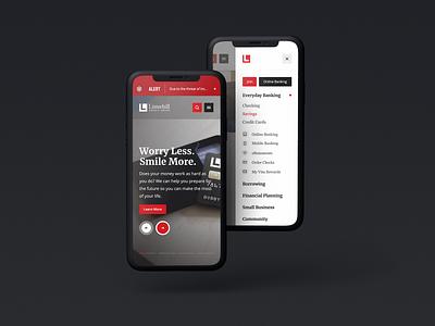 Listerhill Mobile mobile app design mockups website responsive layout financial bank device menu mobile