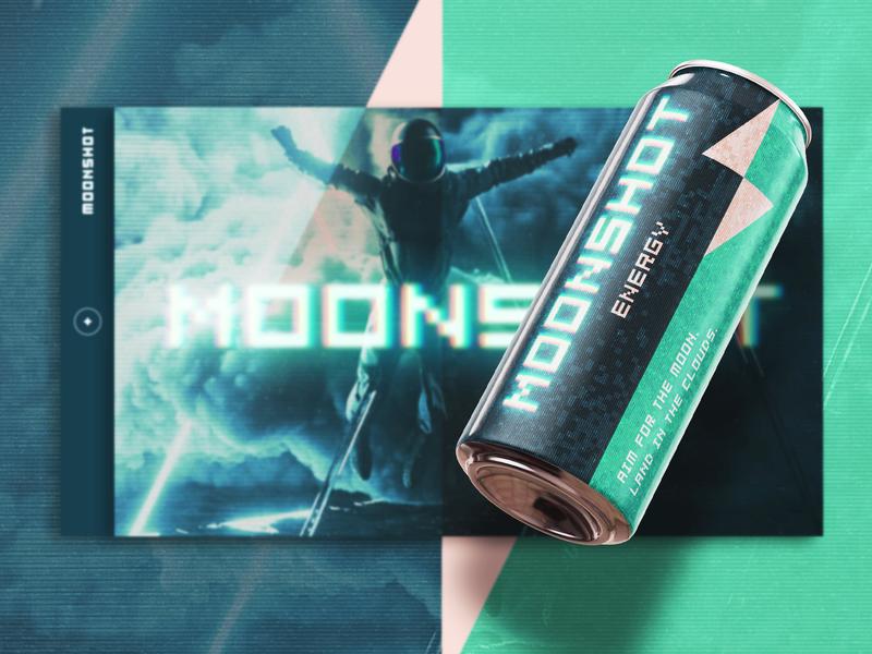Moonshot Energy homepage website concept astronaut octanerender cinema4d moon space layout energy drink energy