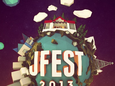 Jfest Shot 3d poster music festival low poly lowpoly earth space sky clouds planets radio chattanooga tn