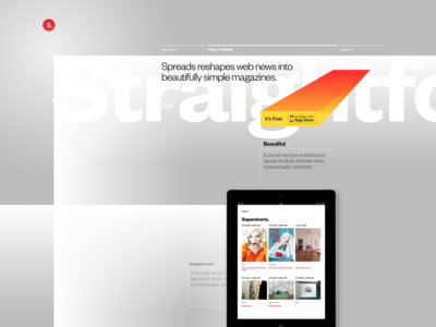 Spreads app marketing website, early exploration