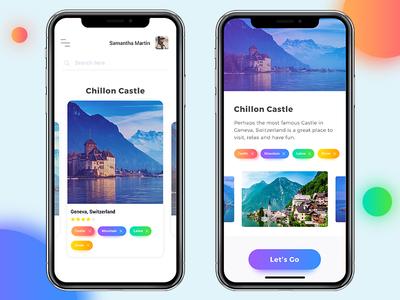 Travel app design concept for iPhone X