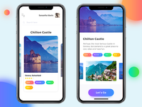 Travel app design concept for iPhone X