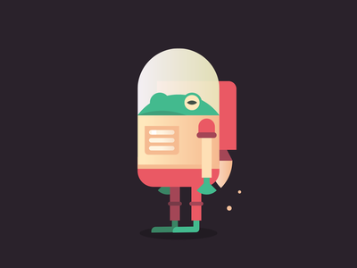 Captain Spacefrog jetpack frog space illustrator illustration
