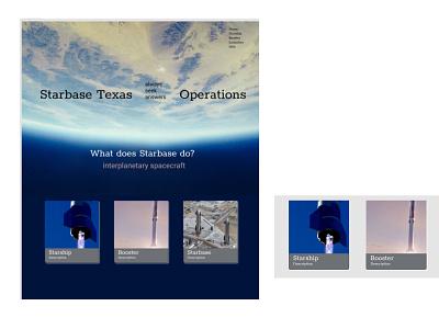 Starbase desktop website layout with post UI cards rocket mars interplanetary spacecraft planet spacex space ui blog post cards desktop design css grid