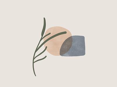 Earthy Illustrations - 2 flat design art plants stone minimal zen illustration organic earthy