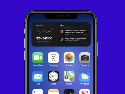 Stock and news widget - iOS flat ios14 interface news stock finance app design app clean motion minimal design mobile apple ios widget ux ui animation