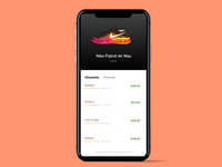 Interface shot for a Shopping Experience App