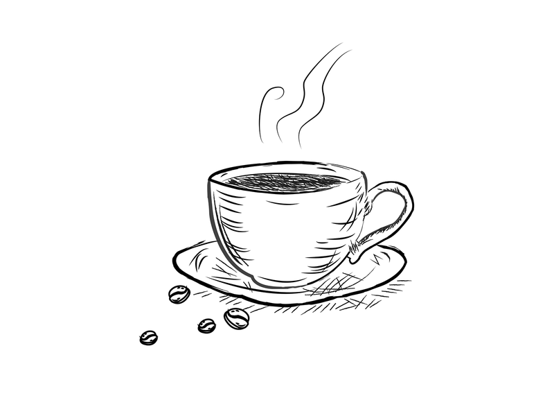 A coffee cup - line art style editorial illustration blackandwhite lineart coffeeshop coffee bean coffee cup coffee illustration vector