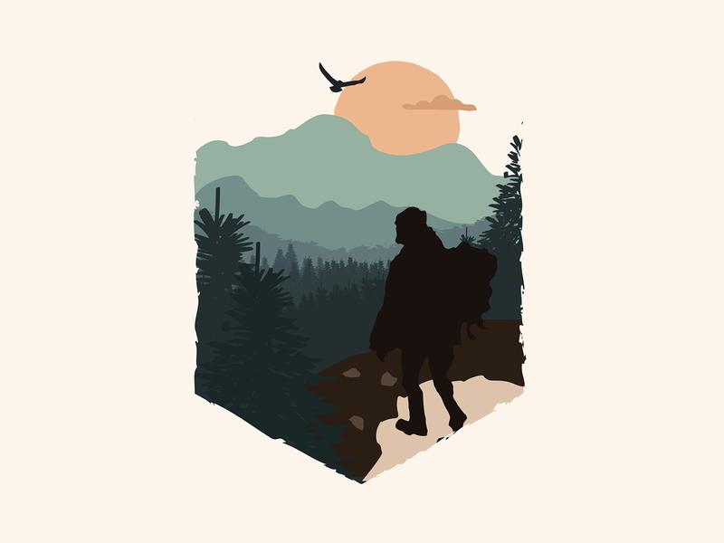 A pilgrimage journey peak hill animal forest mountain vector nature mountains design illustration