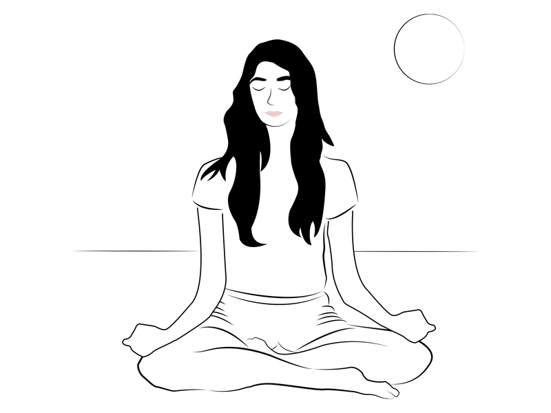 Meditation editorial art editorial illustration editorial drawings wellbeing health calmness meditate meditating meditation drawing illustration vector character