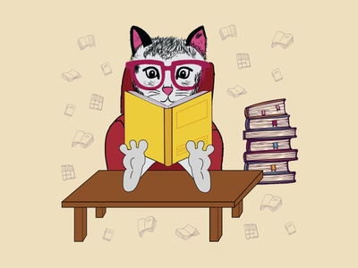 The cat with glasses reading a book.