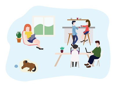 Happy People In Company workplace work character vector illustration happy people company