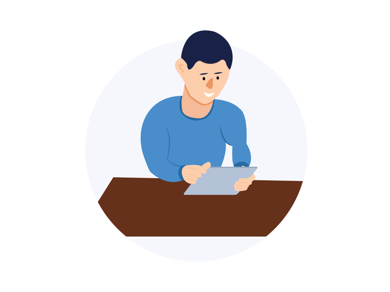 a man with an ipad illustration vector desk ipad man