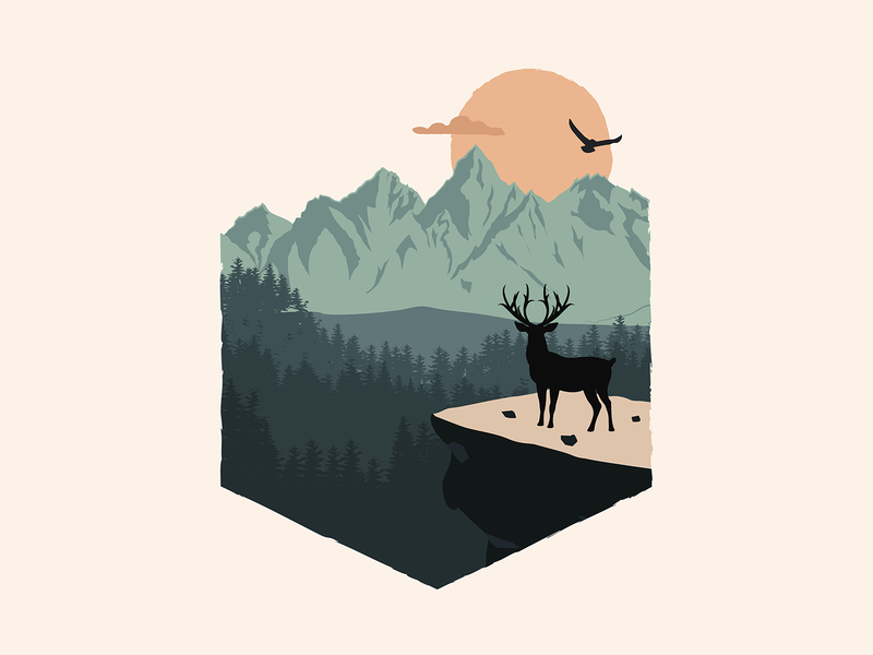 """""""Over every mountain there is a path... nature illustration deer mountains hope forest nature illustration"""