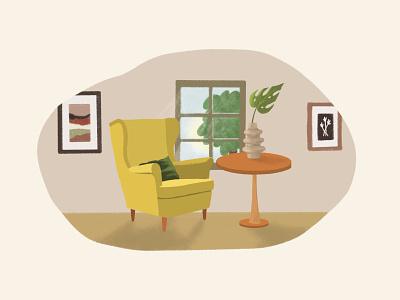 Evening Window illustration design cartoon