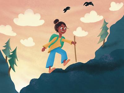 Girl Hiking illustration design cartoon