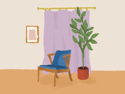 Blue Accent Chair home decor design cartoon illustration