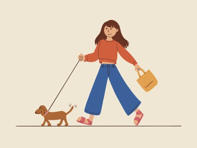 Dog Walking activity puppy dog walking design cartoon illustration