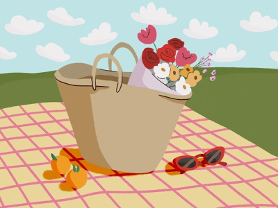 Picnic! summer picnic house plants flourishing design cartoon illustration