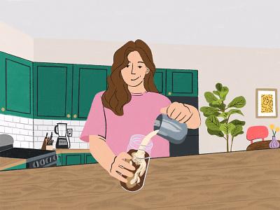 Morning Coffee kitchen morning coffee home decor cartoon design illustration