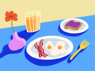 Eggs, Bacon and Toast toast bacon eggs parks and rec parks and recreation breakfast table home decor design illustration