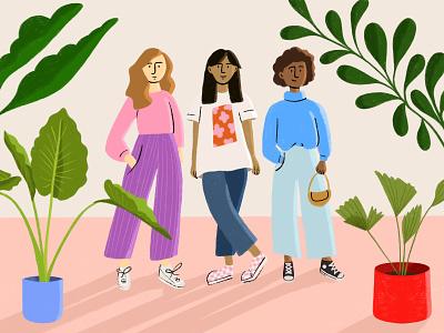 Girls flourishing cartoon illustration design
