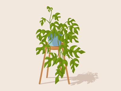 Planty Vibes monstera branding flourishing house plants home decor illustration design