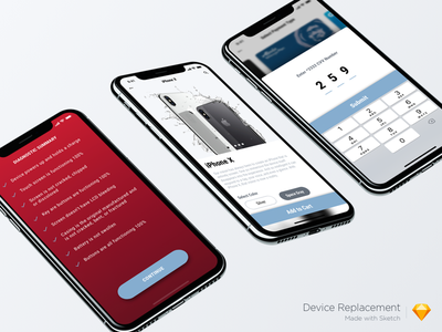 Device Replacement App roboto font visual design iphone x iphone 10 roboto gradients uxd ux uiux minimalistic clean