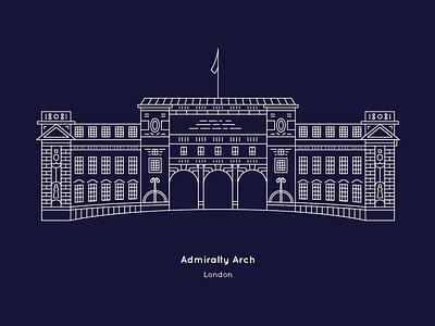'Admiralty Arch' London by The City Works tourism prussian blue landmarks illustrator design blueprint vector line london illustration city