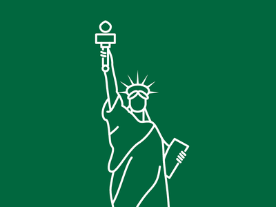 Statue of Liberty by The City Works illustrator statue of liberty new york liberty green vector thecityworks line city