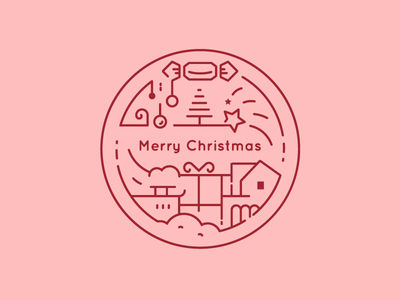 Season's Greetings from The City Works! illustrator vector line illustration city insignia icon logo christmas