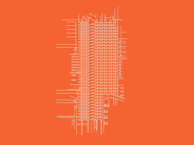 Shakespeare Tower — Barbican Centre, London blueprint architecture building line illustrator illustration vector orange barbican city london