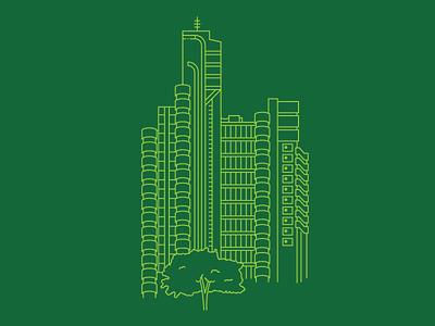 Lloyd's Building, London green building lloyds architecture blueprint illustrator vector london line illustration city