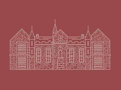 Aberdeen Grammar School, Scotland commission vector aberdeen scotland line illustrator illustration city building blueprint architecture