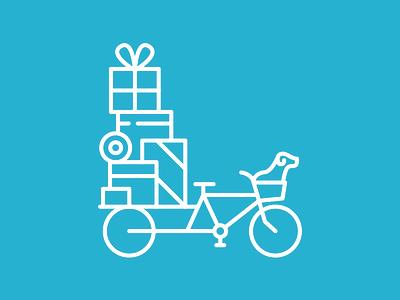 Happy Move! flaticon bike dog blue moving day icon line vector illustration illustrator