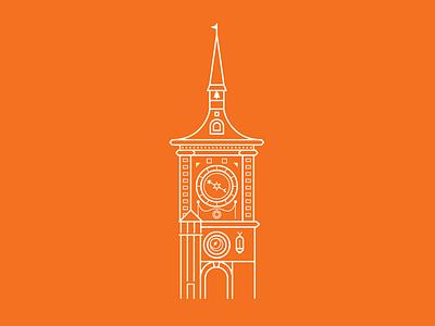 Prague Astronomical Clock  illustrator line flat orange drawing architecture city logo icon vector prague clock