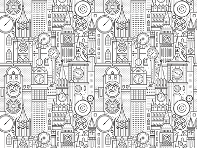 Freedom to Exist Pattern city black and white pattern icon clock illustration detailed vector