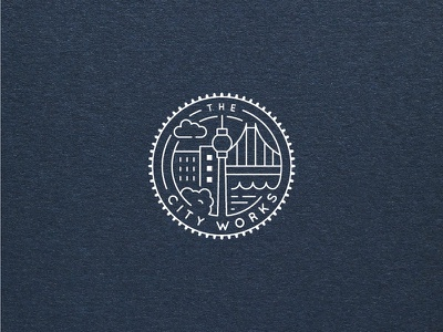 The City Works new logo 2017 the city works illustration vector flat blue icon logo architecture city