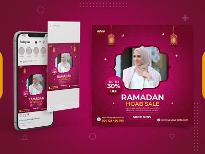 Ramadan Hijab banner for fashion sale social media template post eid