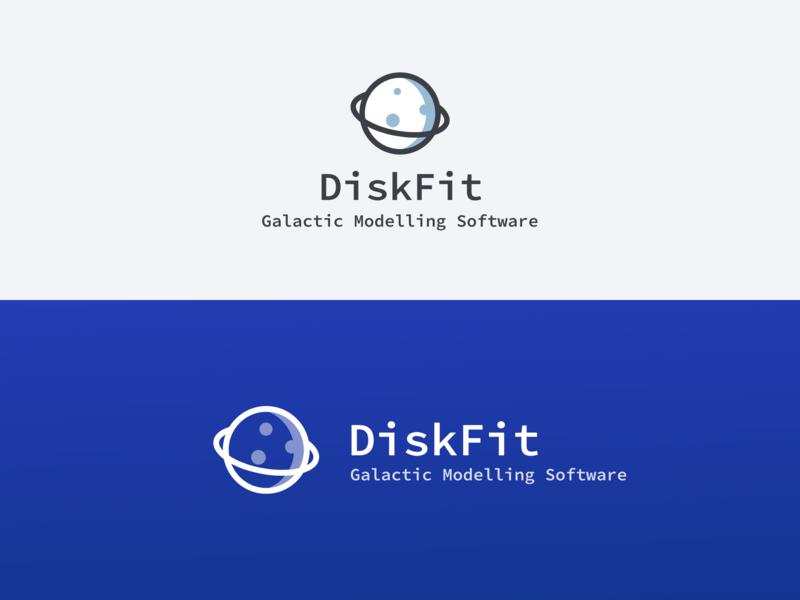 DiskFit Logo space planet light blue galaxy galactic modelling universe logo