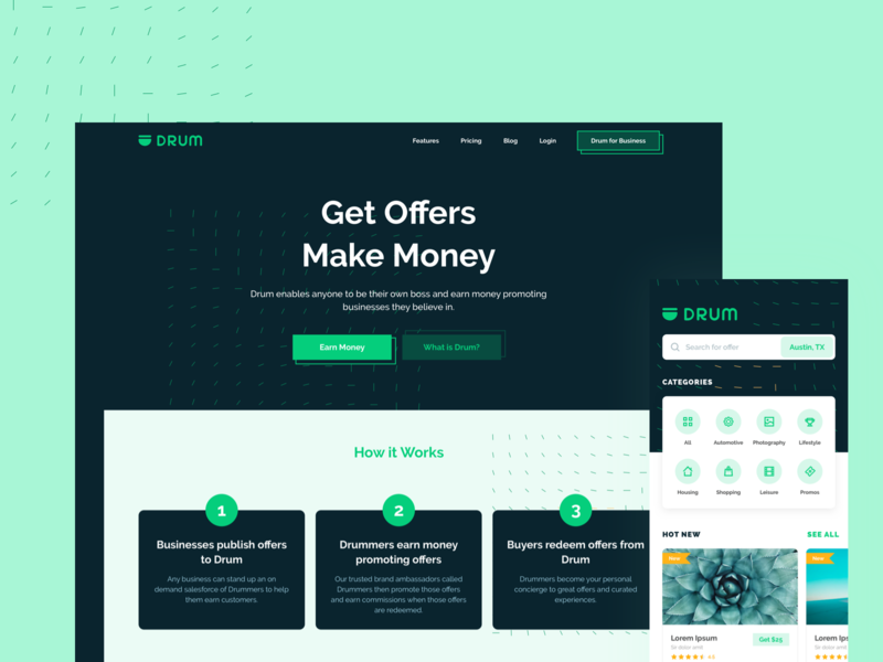 Drum.io Landing page & Mobile App
