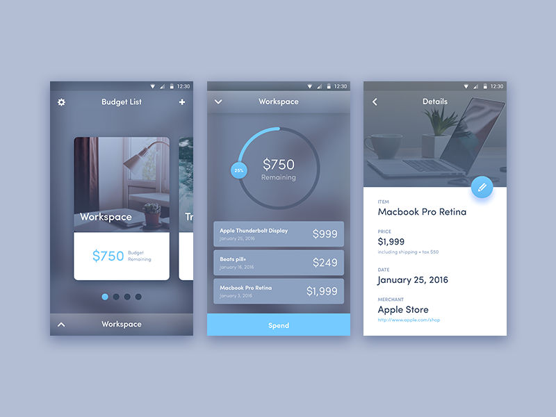 Budget Tracker app finance android design material ui tracker budget