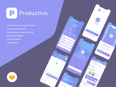 Productivo UI Kit meeting event messenger message task todo calendar productivity ui kit