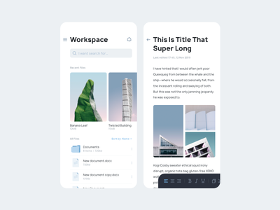 Document Editor App Concept note writer cloud storage file uiux ui app editor document
