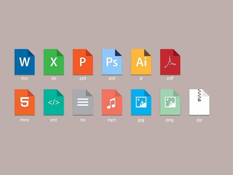 File types icon doc xls pdf psd ai html xml txt mp3 jpg png zip simple clean vector file types file extension
