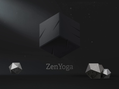 ZenYoga cube logo art brand animation logo after effect 3dsmax graphic dimensions brand identity branding mistery cube black and white box black minimal abstract 3d