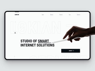 LOKIAN black and white monochrome grid clean web figma minimalism minimal portfolio website web design typography ux ui logo graphic design brand identity