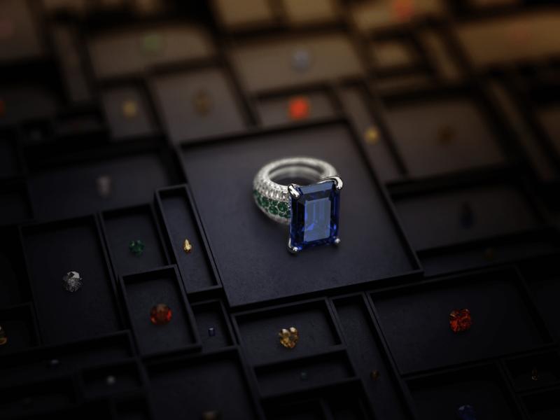 Jewellery illustration dark cgi showcase boxes box ruby emeralds diamonds sapphire emerald diamond high jewellery ring gemstones gemstone gems jewels jewellery 3d